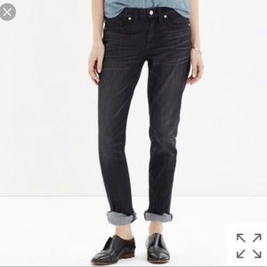 Madewell Slim Boyjean in Black Seneca wash